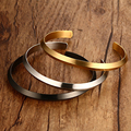 Women Cuff Bracelet 3 Colors Quality Stainless Steel Bangle gold Black Vacuum Plating Jewelry Wholesale