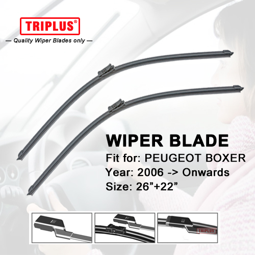 "Wiper Blade for PEUGEOT BOXER (2006-Now) 1set 26""+22"",Flat Aero Beam Windscreen Wipers Frameless Windshield Soft Wiper Blades(China)"