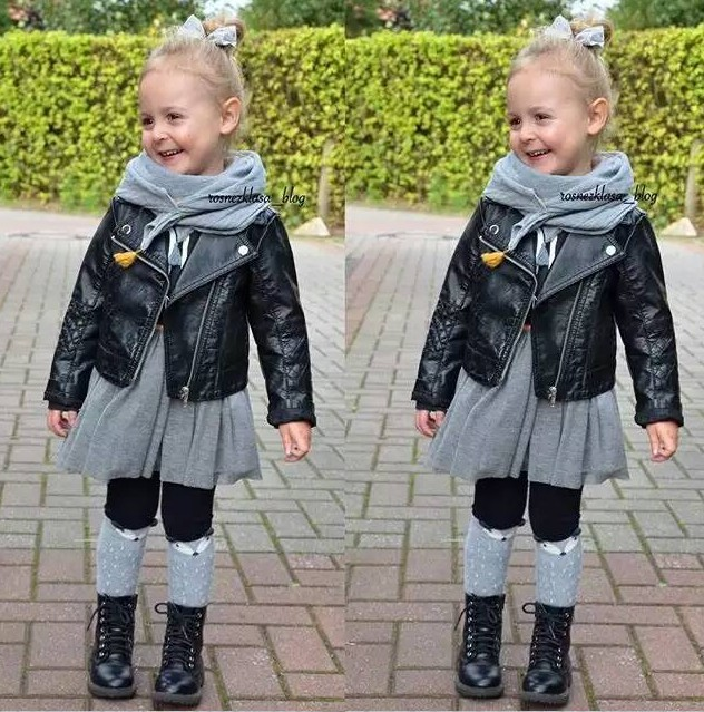 Wind PU Leather Leather Coat Baby Boys and Girls Short Children Jacket 11