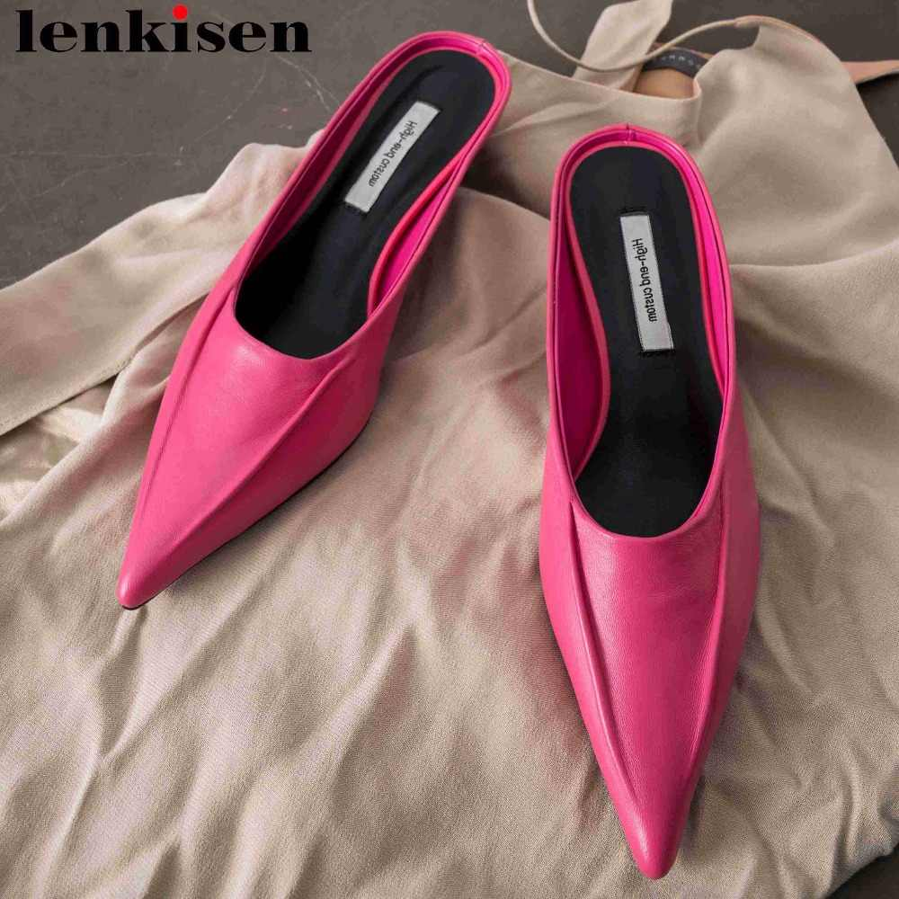 Lenkisen elegant lady comfortable sheep leather thin med heels pointed toe sexy dancing party slip on mules casual shoes L58