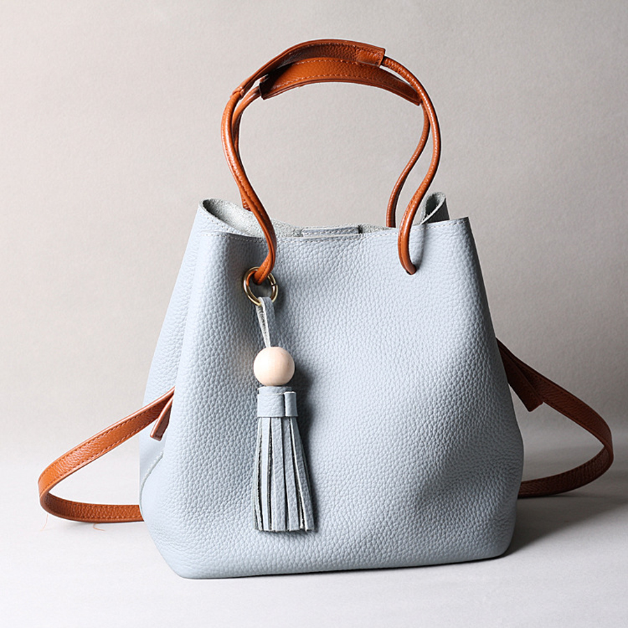 c05640a3349f 2017 fashion simple Stylish Brand design Soft leather bucket bag women  handbag tassel shoulder female bolsas Free shipping on Aliexpress.com