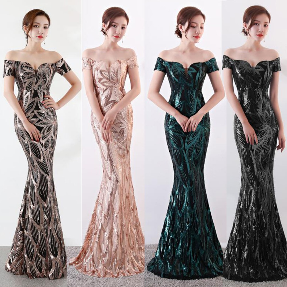 NOBLE WEISS Long Off  Shoulder Evening Dresses Sequined Mermaid Evening Gowns Women Formal Dresses(China)