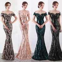 NOBLE WEISS Long Off Shoulder Evening Dresses Sequined Mermaid Evening Gowns Women Formal Dresses us2-14
