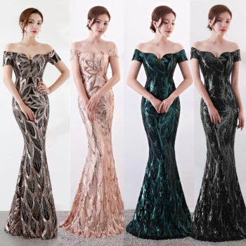 NOBLE WEISS Long Off  Shoulder Evening Dresses Sequined Mermaid Gowns Women Formal us2-14 - discount item  21% OFF Special Occasion Dresses