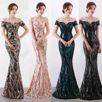 NOBLE WEISS Long Off  Shoulder Evening Dresses Sequined Mermaid Evening Gowns Women Formal Dresses us2-14 - DISCOUNT ITEM  21% OFF All Category