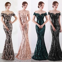 NOBLE WEISS Long Off Shoulder Evening Dresses Sequined Mermaid Evening Gowns Women Formal Dresses