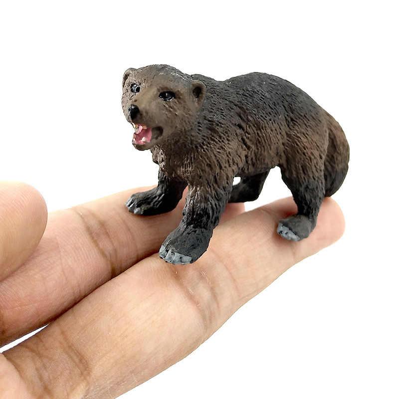 Simulação floresta animal selvagem modelo um pedaço texugo wolverine anteater beaver urso figura de ação pvc brinquedo estatueta presente para crianças