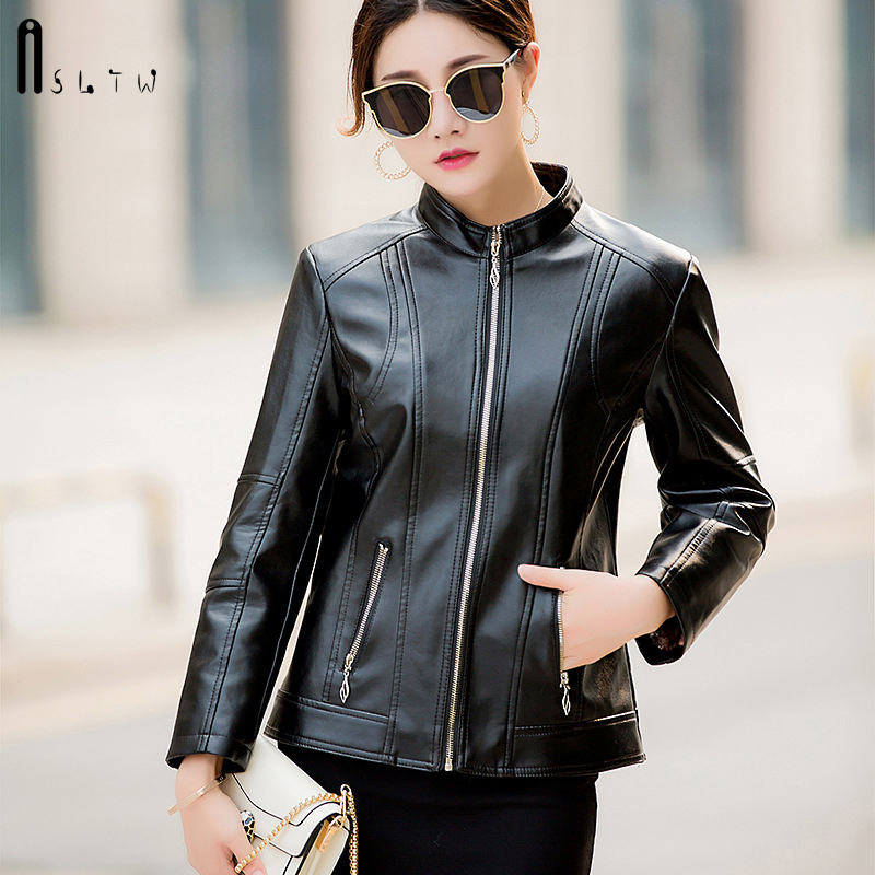 ASLTW XL-6XL   Leather   Jacket Woman 2019 New Plus Size Solid Female Jacket Zip pocket Fashion casual Long Sleeve Women's PU Jacket