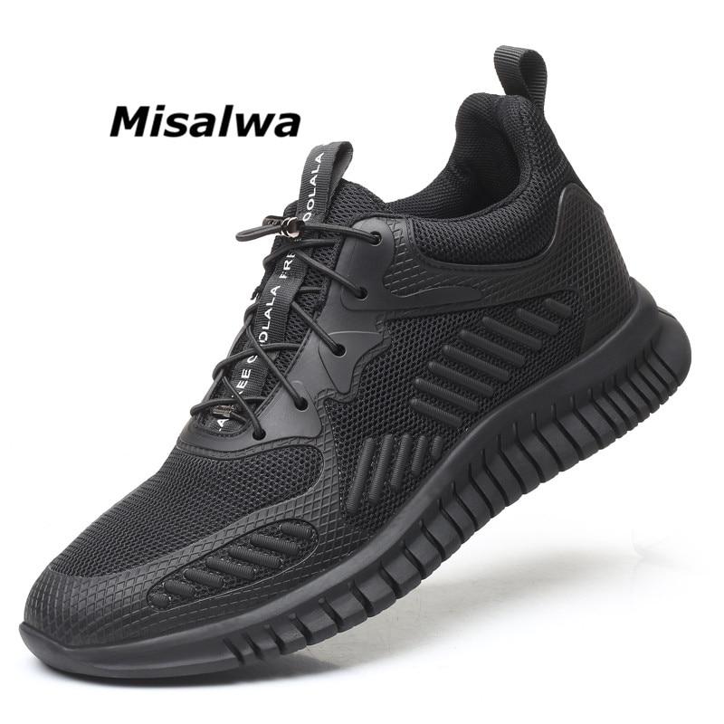Flyknit Misalwa Homens Elevador Sapatos Invisíveis 2019 Recém Lace up Sneakers Lazer Malha Sweat-Absorvente e Sapatos Ao Ar Livre Casuais Flats