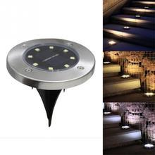 8-светодиодный светильник на солнечной энергии под землёй, наружный светильник, садовый светильник, светодиодный ночник