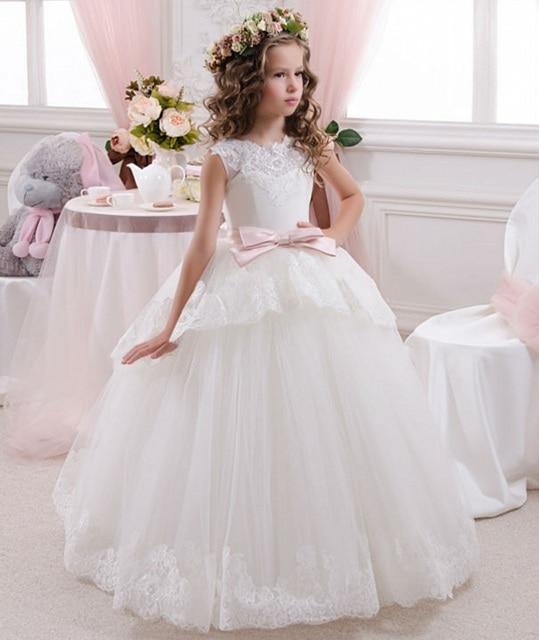 9b04c601304 Детские платья элегантный белый кружева чистой первое причастие платья для  девочек V свадебные платья Comunion Casamento