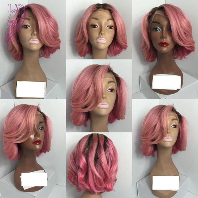Ombre Short Black To Pink Wig Synthetic Lace Front Wig 180% Density Fashion Wave Synthetic Heat Resistant Wig For Black Women