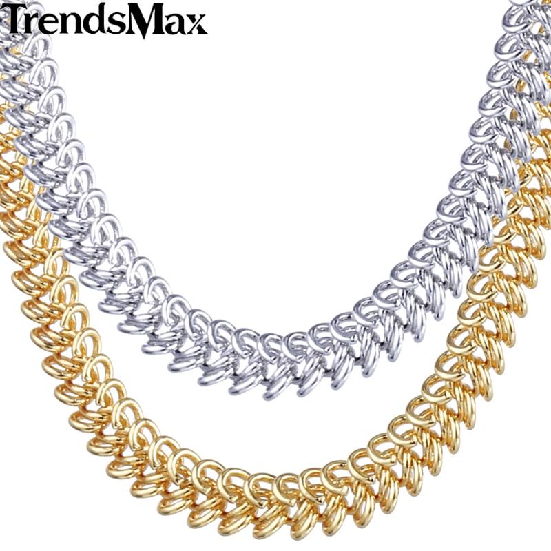 Trendsmax 6mm Womens Chain Ladies Braided Bismark Link Whites