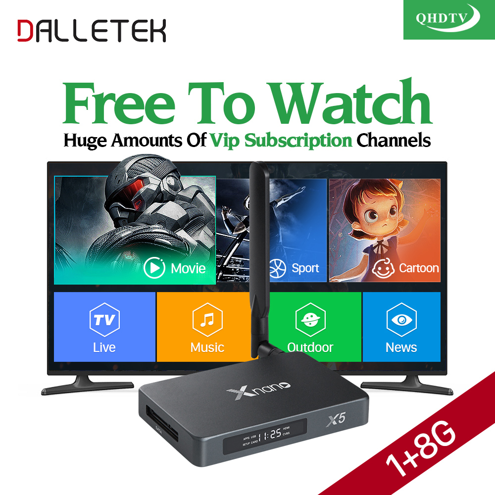 Dalletektv X5 Android IPTV Box Arabic French IPTV Italia Spain QHDTV Code IPTV Subscription Europe France Sweden TV Set Top Box