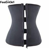 FeelinGirl Zipper And Hook Combo Rubber Latex Waist Trainer Sexy Corset Underbust Waist Cincher Zip And