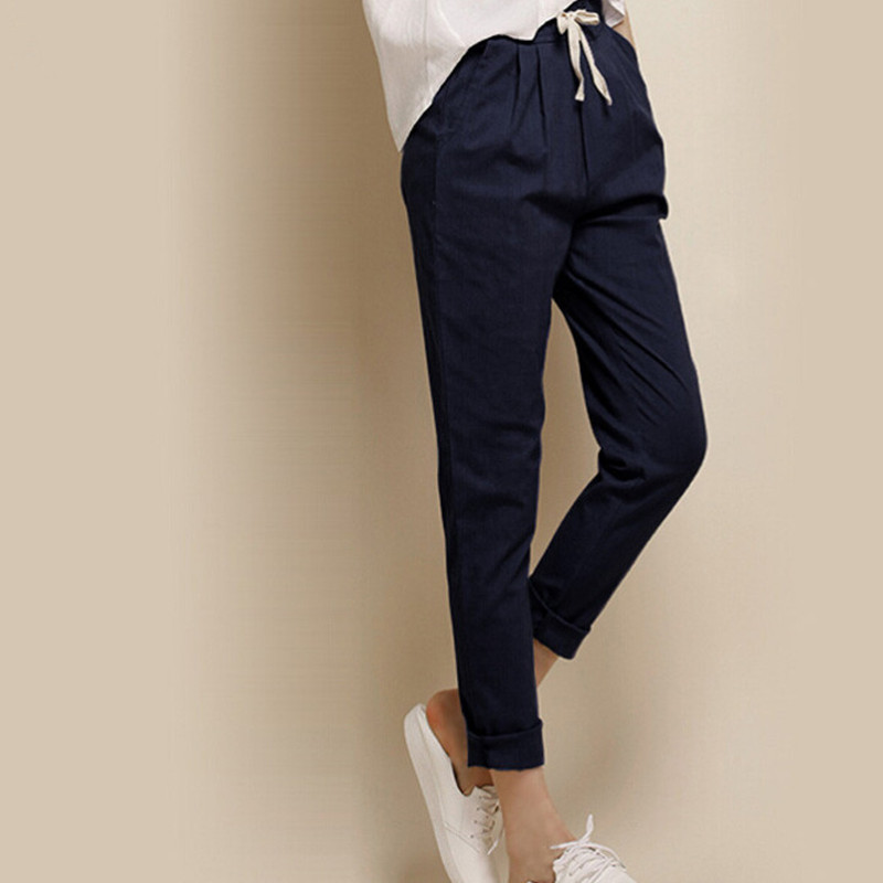 Summer Style 2016 Fashion Linen Nine Elastic Waist Pants ...