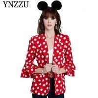European Style 2019 Spring Dot Print Red Women Blazers and Jackets Flare Sleeve Slim Blazer Coat Women blazer feminino AO860