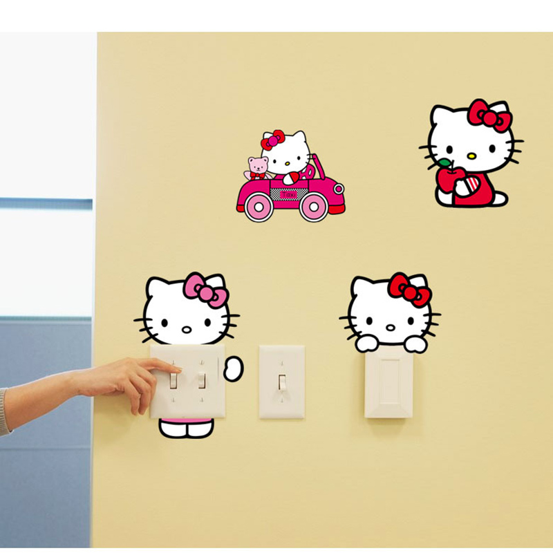 Hello Kitty Wall Stickers Creative Pvc Removable Switch Stickers