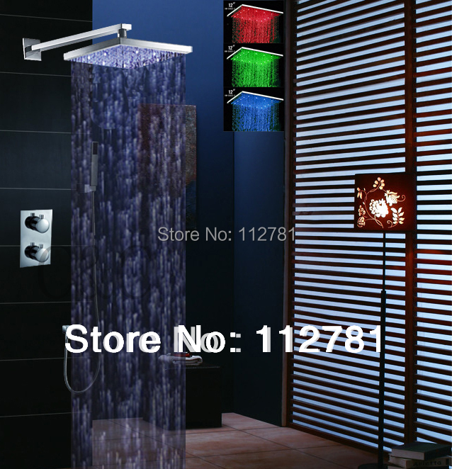 LED Thermostatic Shower Set With Chrome Shower Panel And 12 Inch 3 Color Shower Head 001