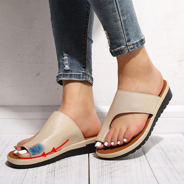נשים קומפי רגיל נעליים שטוח פלטפורמת גבירותיי רומא מקרית כישלון להעיף גדול הבוהן רגל תיקון סנדלי אורטופדי פיקה מתקן