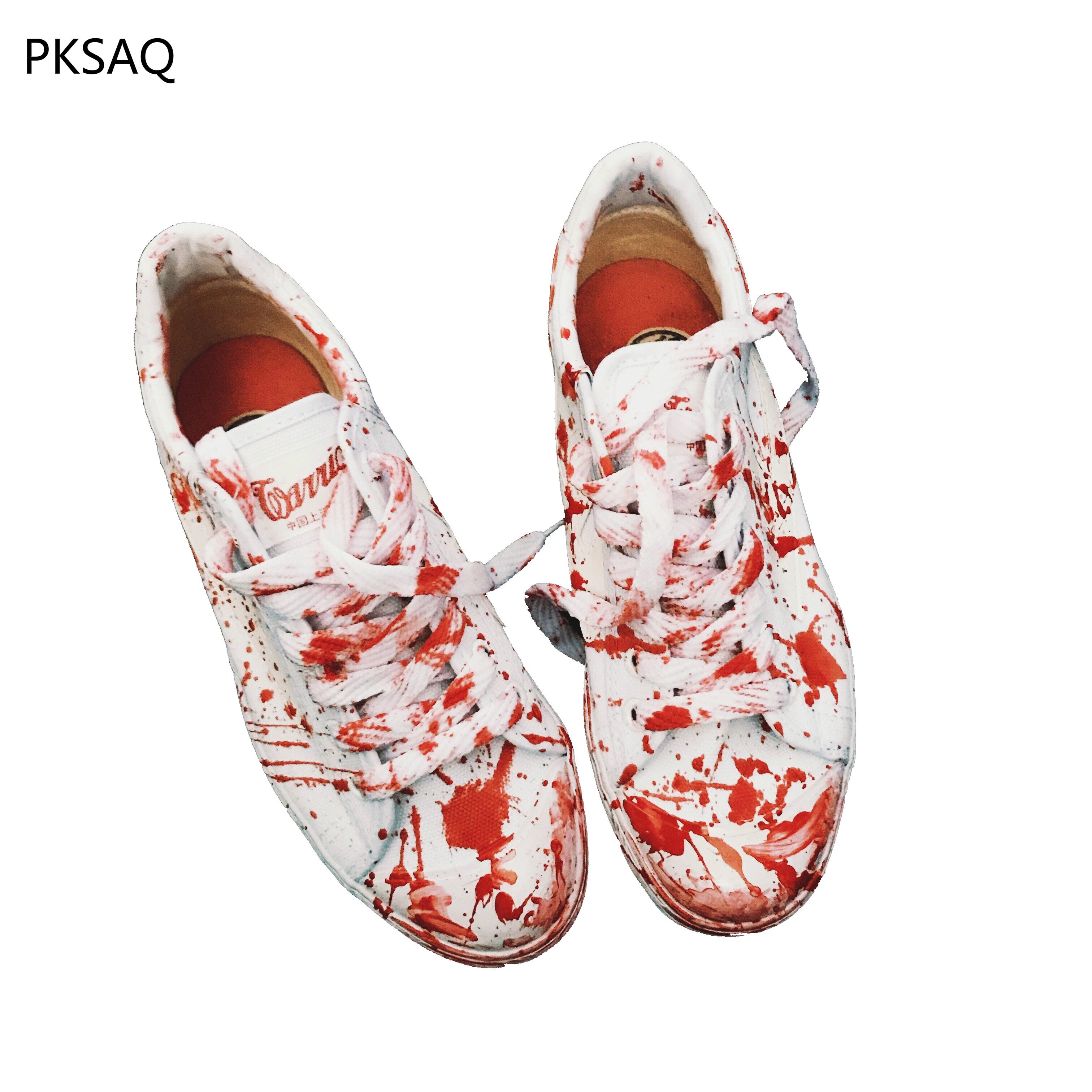 New Spring Autumn Women White Canvas Shoes Casual Shoes Lace Up Red Dirty Cosply Shoes Student Couple Cool Street Show Shoes red off shoulder lace up elastic waistband casual co ords