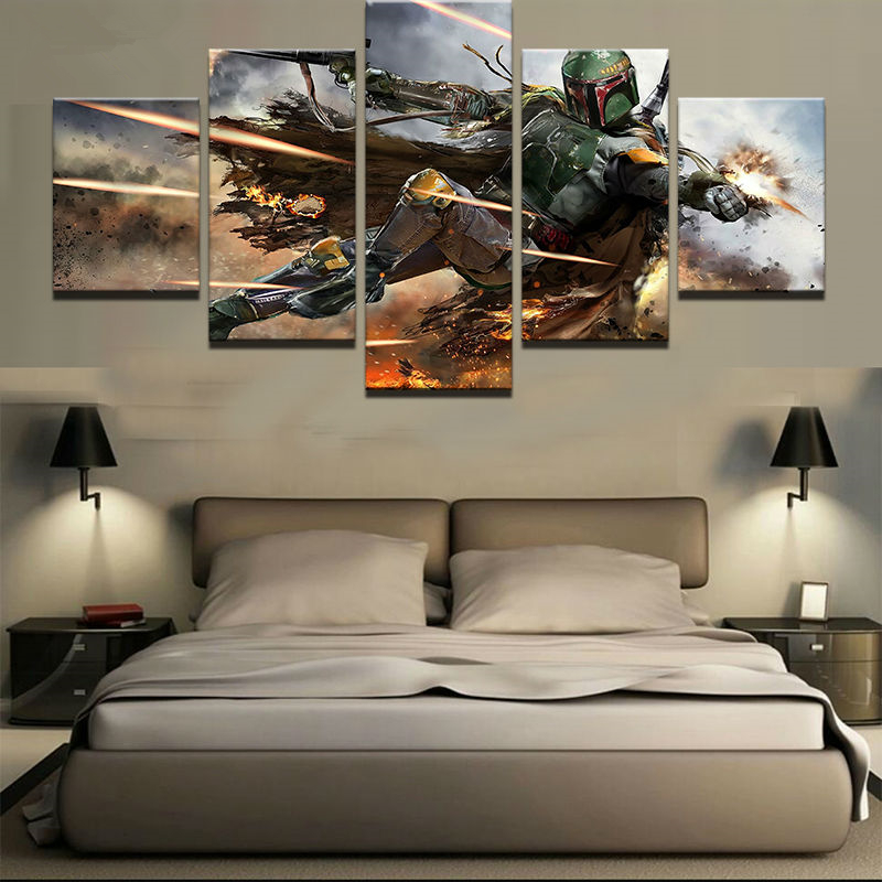 5 Panel Canvas Wall Art Picture Print Landscape Canvas Painting Star Wars Bounty Hunter Boba Fett Modern Livings Room Decorative