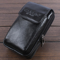 New Men S Genuine Leather Real Cowhide Fanny Waist Bag Double Zippers Mobile Cell Phone Case