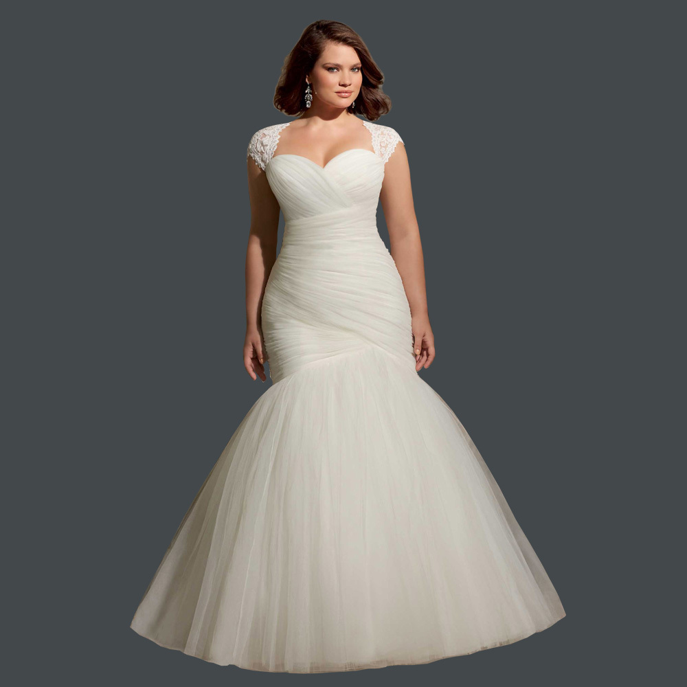 Mermaid Lace Wedding Gown: Cheap Pleated Bridal Gown With Lace Plus Size Mermaid Lace