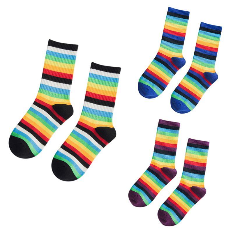 Unisex Teens Contrast Color Rainbow Striped Crew Socks Harajuku Hip-Hop Sports Streetwear Hipster Retro Cotton Long Tube Hosiery