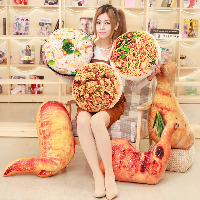 Real life Creative 3D ice cream cake chicken legs pillow cushions nap pillow simulation food christmas decorations for home