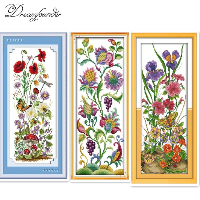 Abstract flowers cross stitch kit flower 14ct printed fabric canvas stitching embroidery DIY handmade needlework