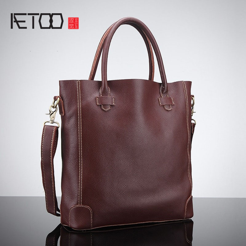 AETOO Oil wax hand bag leather handbags large capacity European and American fashion casual handbag head layer cowhide retro sho dollar price new european and american ultra thin leather purse large zip clutch oil wax leather wallet portefeuille femme cuir
