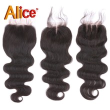 Brazilian Body Wave Closure Human Hair Swiss Lace Closure Bleached Knots 4×4 Free/Three/Middle Part Virgin Hair Lace Closure