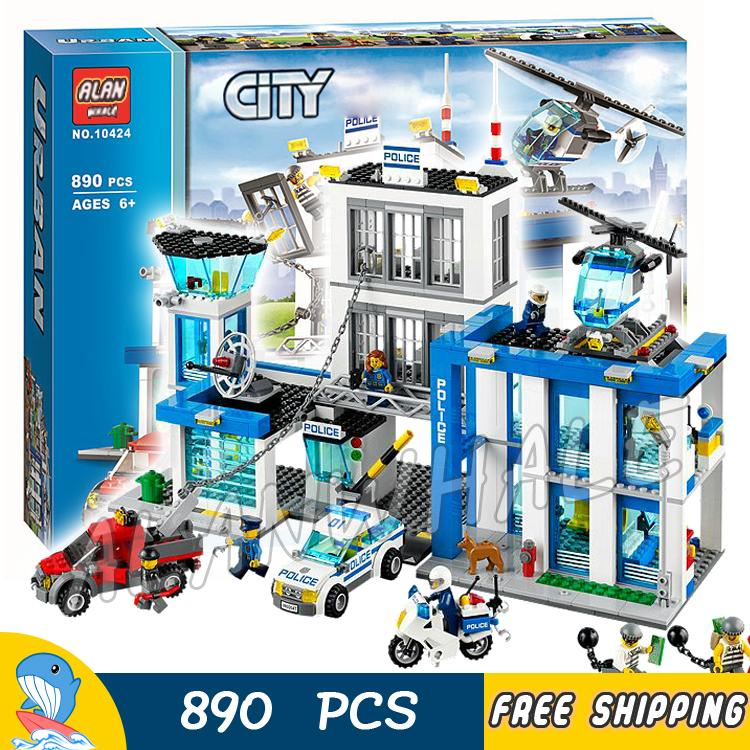 890pcs City Police Station New Construction Helicopter 10424 Model Building Blocks Children Toys Kit Bricks Compatible With lego 965pcs city police station model building blocks 02020 assemble bricks children toys movie construction set compatible with lego