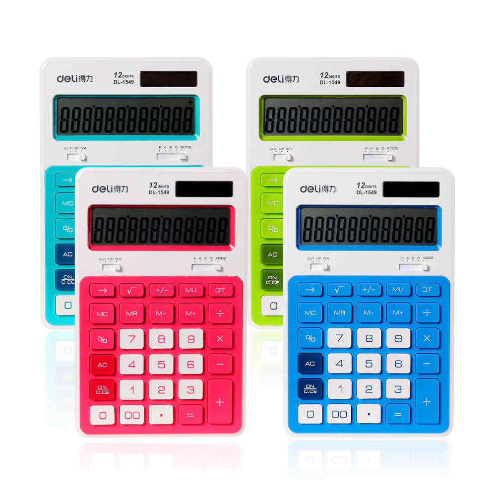 1549 Dual Power Calculadora Electronic Big Display Calculating Candy Color font b Calculator b font Stationery