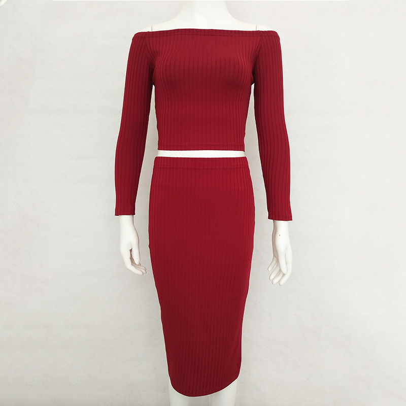 Casual Solid Off Shoulder Slash Neck Sexy Club Women Sheath Dress Slim Bodycon Knitted Sweater Party Night Knee-Length Dresses casual off the shoulder round neck striped women s dress
