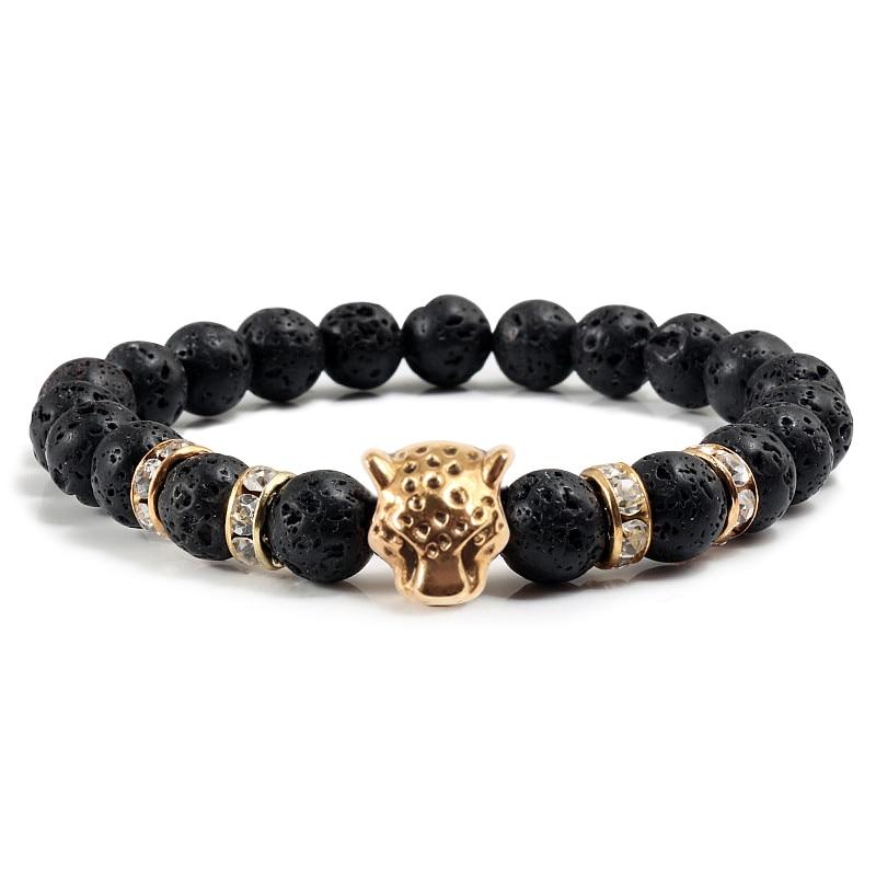 Fashion Men Black Lava Bangles Bracelets Alloy Panther Head Rhinestone Round Bangle For Women Buddha Bracelet Charm jewelry Gift