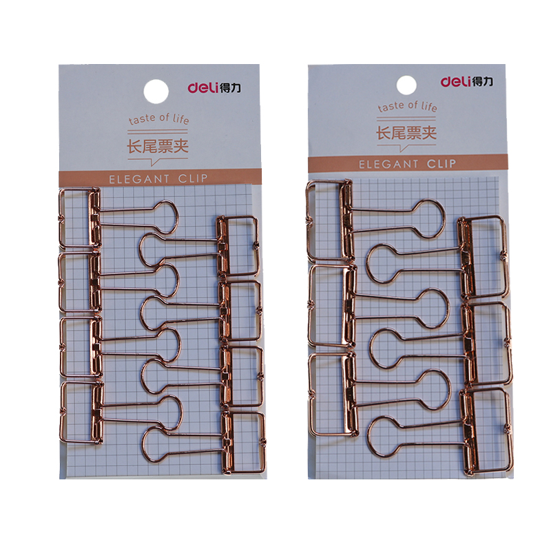 School Office Rose Gold Carving Hollow Design Folder Office Long Tail Clip Magazine Hand Account Admission Office Paper Clip