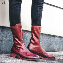 Fashion New Mid Calf Boots Women Genuine Leather Casual Shoes Woman Vintage Shoe Lady wo1808170 цена