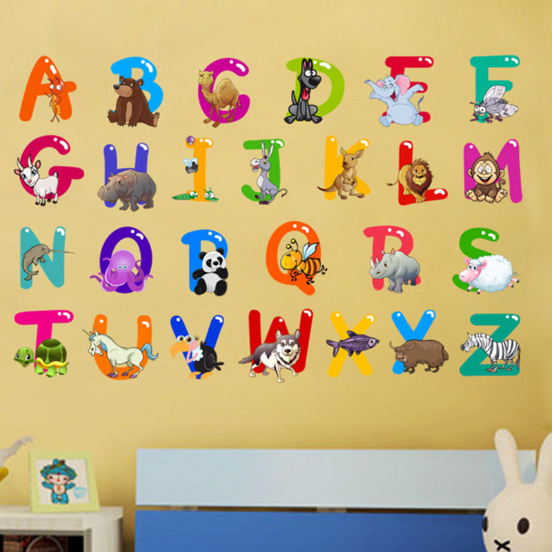 Cartoon colorful 26 letters alphabet wall stickers for for Alphabet wall decoration