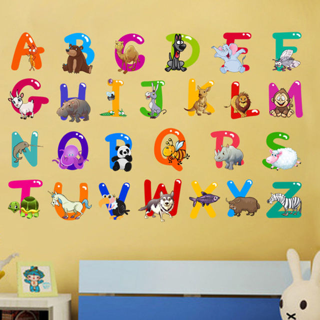 Cartoon Colorful 26 Letters alphabet Wall Stickers For Kids Rooms ...