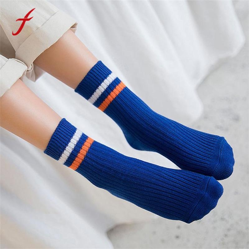 Feitong 2018 Nieuwe Mode Sokken Nieuwe Vrouwen Winter Warm Beenwarmers Gestreepte Gedrukt Knit Gebreide Haak Harajuku Sokken