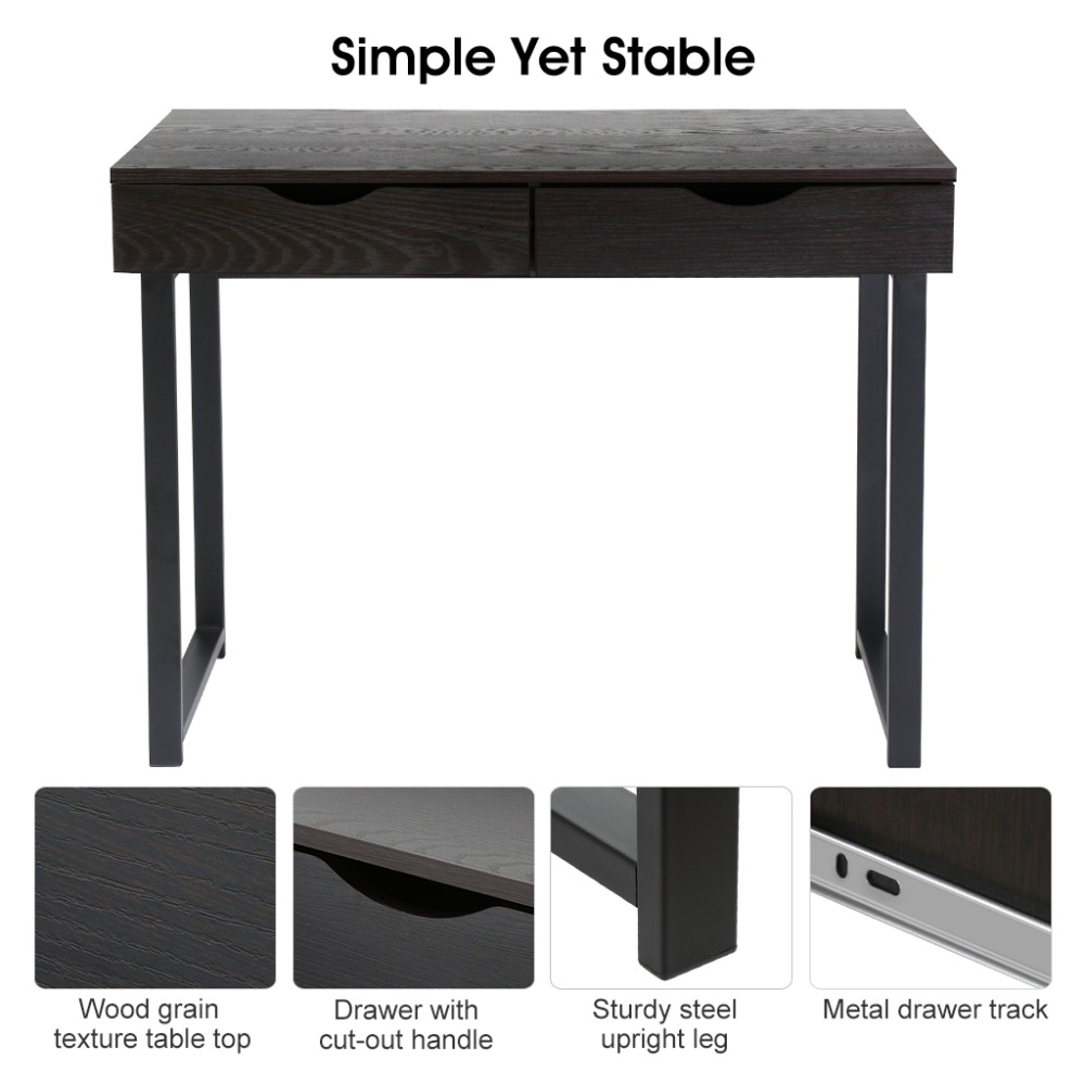 LANGRIA Minimalist Computer Desk Console Table With 2 Drawers Home Laptop  Table Furniture Black Walnut For College Home Office In Computer Desks From  ... Amazing Pictures