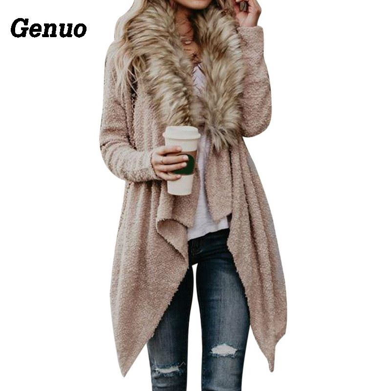Genuo Sweater Poncho Irregular-Cardigan Fur-Collar Long-Sleeve Femme Capes Knitted Autumn Winter