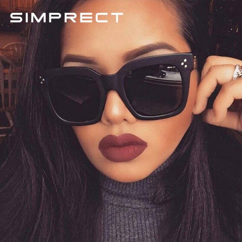 SIMPRECT 2019 nouvelle mode carré lunettes De Soleil femmes marque concepteur rétro miroir lunettes De Soleil Vintage nuances Lunette De Soleil Femme