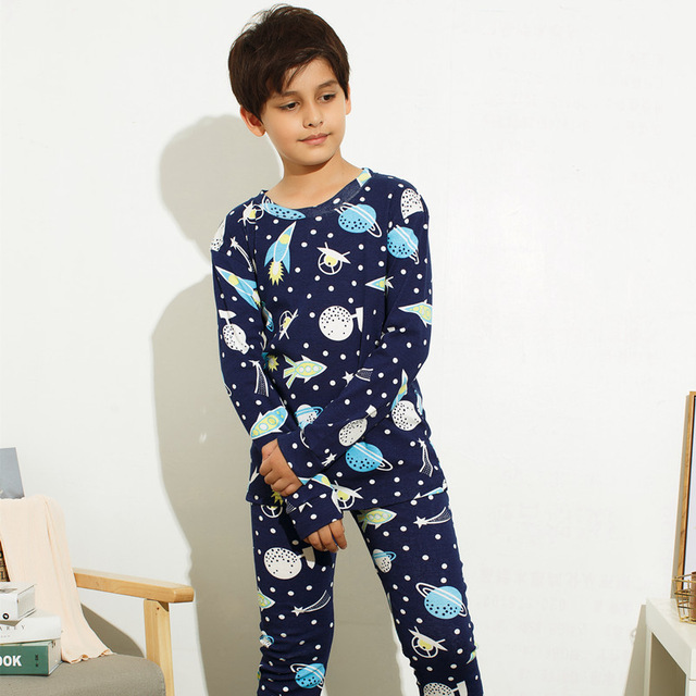 Boy Pajamas Sets Long Sleeve Big Kids Sleepwear Cotton ...