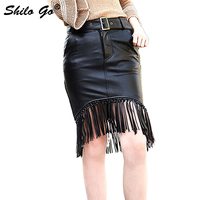 Leather Skirts Womens Spring Fashion sheepskin genuine leather Skirts metal belt Weaving tassels concise pencil skirts