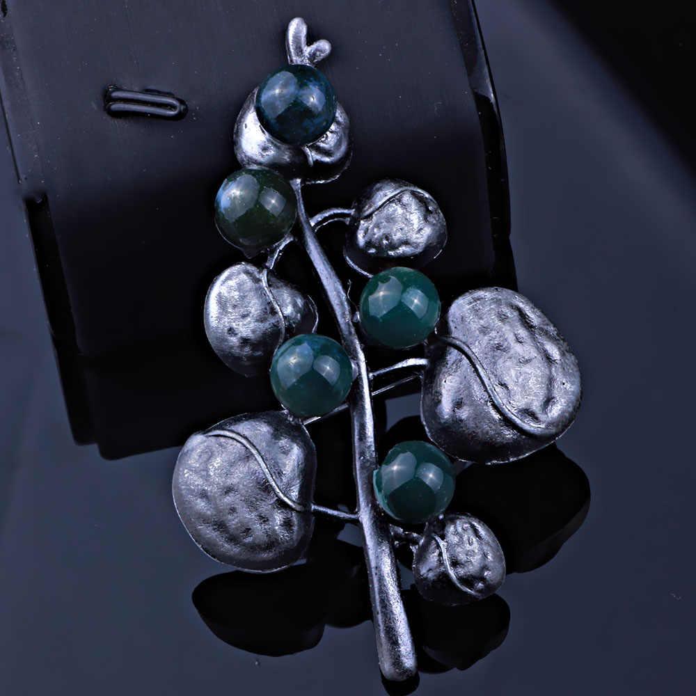 Farlena Lucu Alami Stone Manik Pohon Bros untuk Wanita Berlapis Perak Antik Antik Kerah Bros Perhiasan Merek Korsase