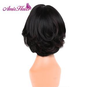 Image 4 - Perruque de cheveux synthétiques Bob perruques cheveux raides perruque courte pour les femmes naturel noir brun blond fête quotidien Cosplay perruques Amir