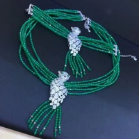 one set 6rows green jades stone round faceted necklace bracelet leopard clasp wholesale nature beads FPPJ
